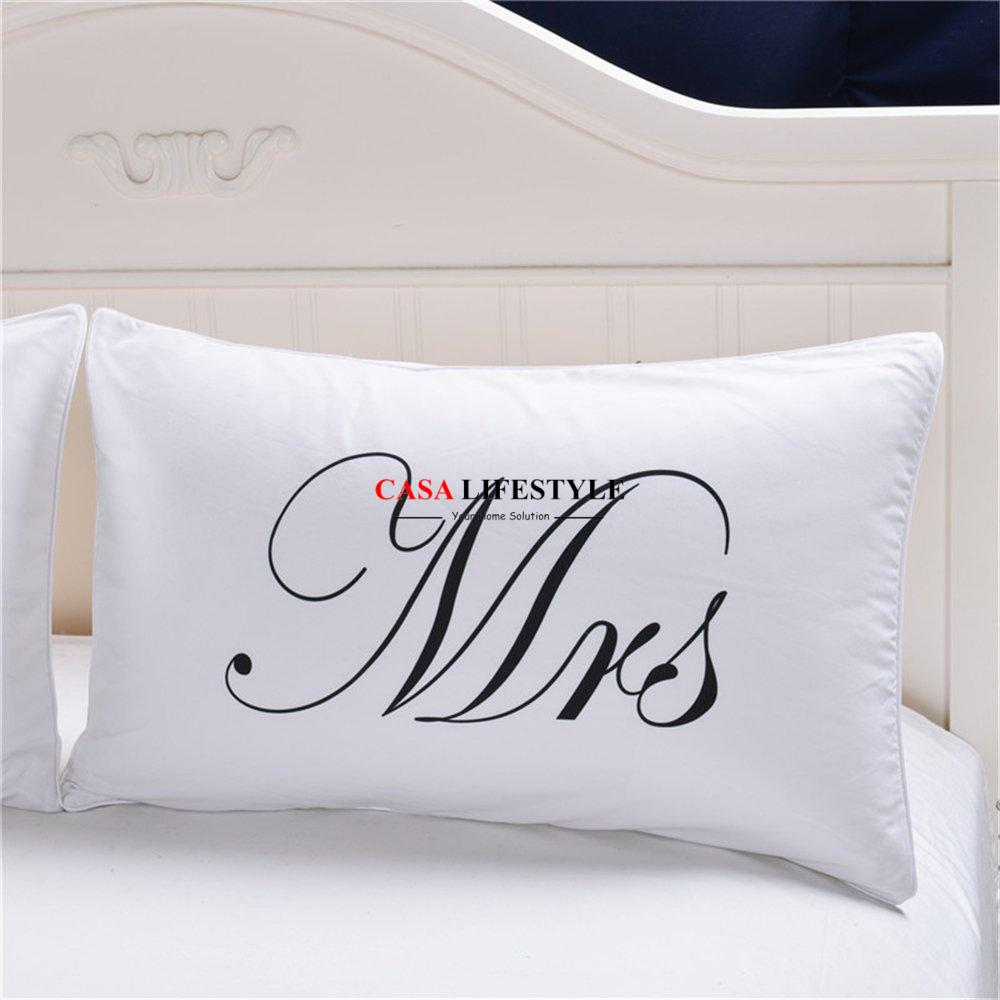 Mr and Mrs Printed Pillow Cases