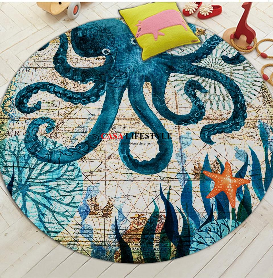 Round Sea Animals Patterned Carpet